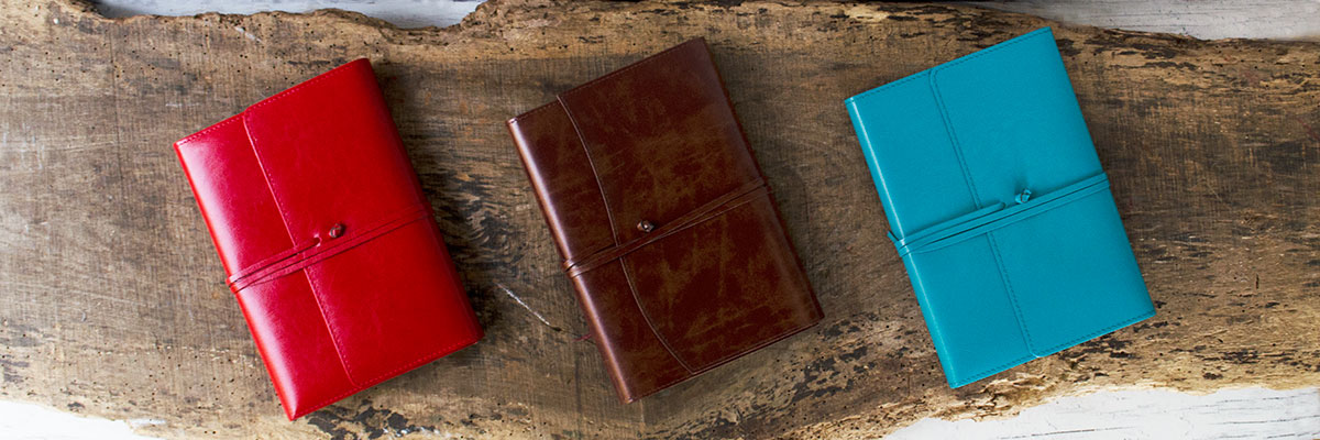 tuscan handmade recycled leather refillable journals