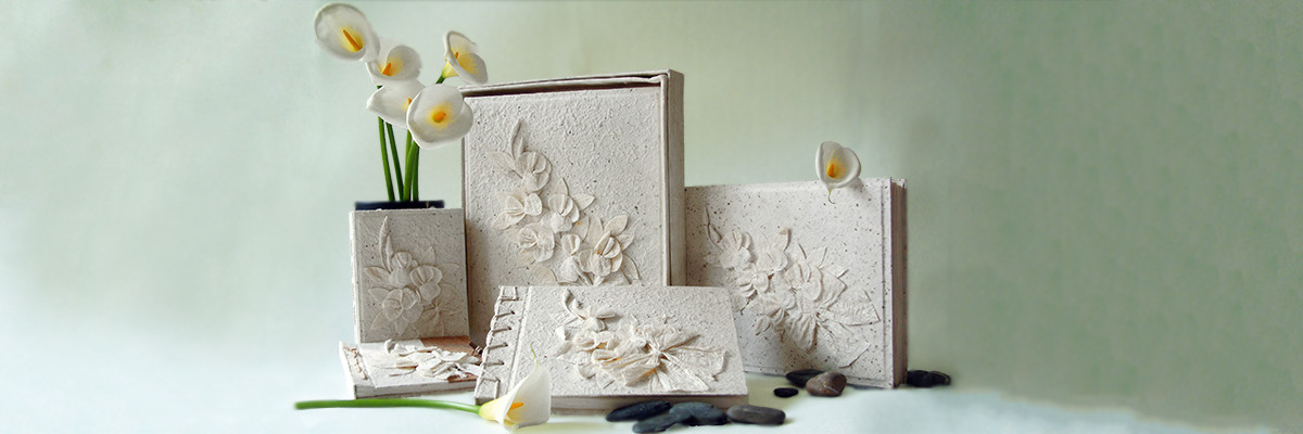 handmade wedding album range, made from bark petals and natural papers