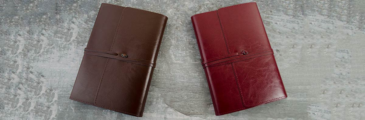 a chcocolate and burgundy leather journal