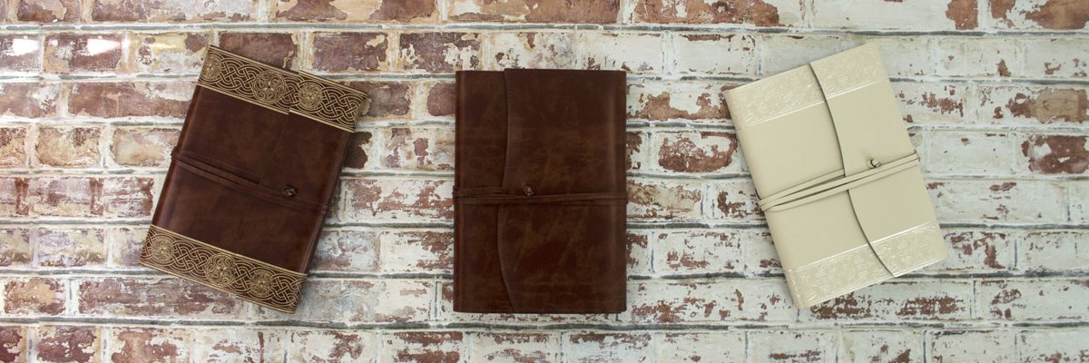 handmade recyled leather journals made by LEATHERKIND
