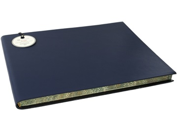Picture of Acuto Handmade Italian Leather Bound Extra Large Guest Book Navy