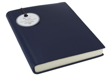 Picture of Acuto Handmade Italian Leather Bound A6 Journal Navy Plain