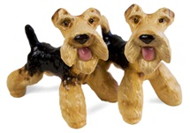 Picture of Airedale Terrier Handmade Mini Cruet Set Black and Tan