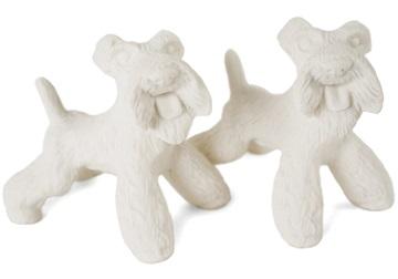 Picture of Airedale Terrier Handmade Unpainted Ceramics Mini Unpainted Cruet Set Unglazed