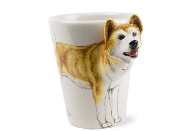 Picture of Akita Handmade 8oz Coffee Mug White And Fawn