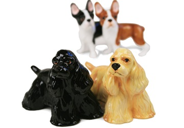 Picture of American Cocker Spaniel Handmade Mini Cruet Set Black and Gold