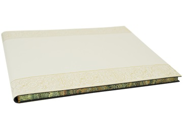 Picture of Angelus Handmade Italian Recycled Leather Bound Extra Large Guest Book Gold