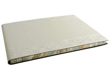 Picture of Angelus Handmade Italian Recycled Leather Bound Extra Large Guest Book Silver
