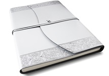 Picture of Angelus Handmade Italian Recycled Leather Wrap A4 Journal Silver Plain