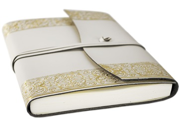Picture of Angelus Handmade Italian Recycled Leather Wrap A5 Journal Gold Plain