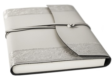 Picture of Angelus Handmade Italian Recycled Leather Wrap A5 Journal Silver Plain