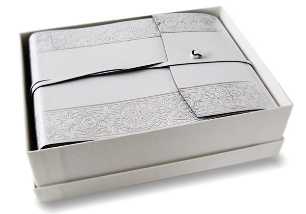 Picture of Angelus Handmade Italian Recycled Leather Wrap Small Photo Album Angelus Silver