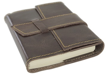 Picture of Attache Handmade Leather Wrap Small Refillable Journal Rustic Tan Plain