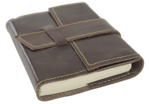 Picture of Attache Handmade Leather Wrap A6 Refillable Journal Rustic Tan Plain
