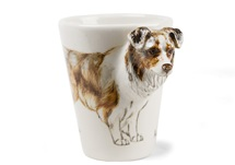 Picture of Australian Shepherd Handmade 8oz Coffee Mug Marbled