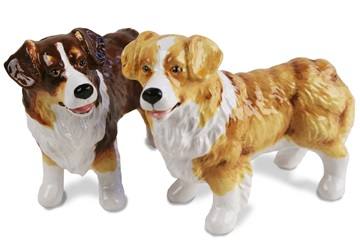 Picture of Australian Shepherd Handmade Mini Cruet Set Tan and Brindle