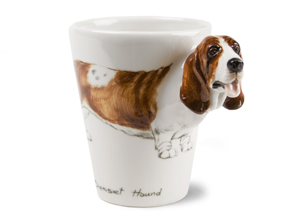 Picture of Basset Hound Handmade 8oz Coffee Mug Brown And White