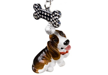 Picture of Basset Hound Handmade Mini Key Ring Brown And White