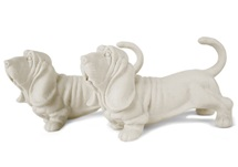 Picture of Basset Hound Handmade Unpainted Ceramics Mini Unpainted Cruet Set White