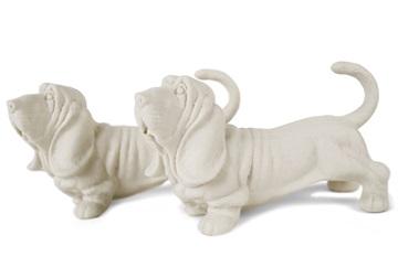 Picture of Basset Hound Handmade Unpainted Ceramics Mini Unpainted Cruet Set White