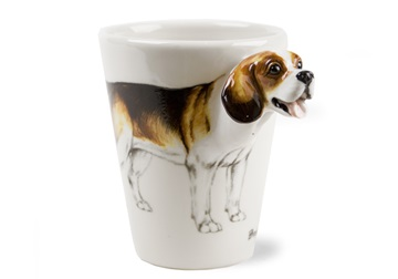 Picture of Beagle Handmade 8oz Coffee Mug White And Tan