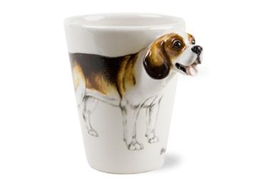 Picture of Beagle Handmade 8oz Coffee Mug White and Tan