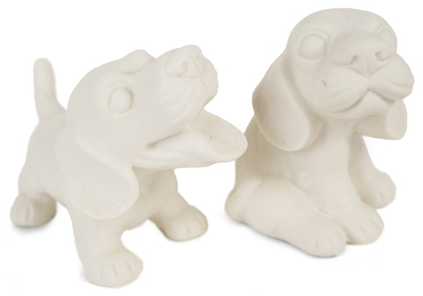 Picture of Beagle Handmade Unpainted Ceramics Mini Unpainted Cruet Set Unglazed