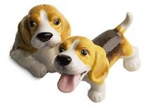 Picture of Beagle Handmade Mini Cruet Set White and Tan