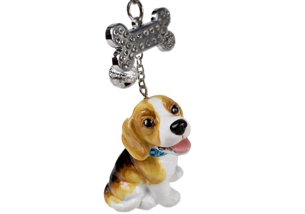 Picture of Beagle Handmade Mini Key Ring White and Tan