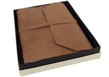 Picture of Beatnik Handmade Leather Wrap A4 Journal Tan Plain
