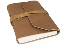 Picture of Beatnik Handmade Leather Wrap A5 Journal Tan lined