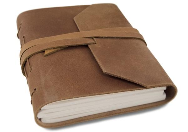 Picture of Beatnik Handmade Leather Wrap Mini Journal Tan Plain