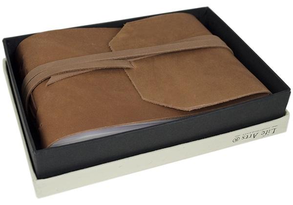 Picture of Beatnik Handmade Leather Wrap Small Photo Album Tan