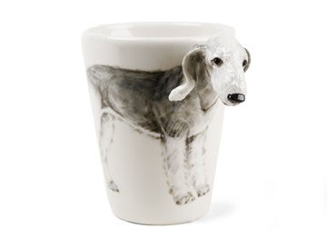Picture of Bedlington Terrier Handmade 8oz Coffee Mug Silver and Fawn