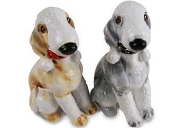 Picture of Bedlington Terrier Handmade Mini Cruet Set Silver and Fawn