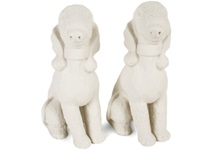 Picture of Bedlington Terrier Handmade Unpainted Ceramics Mini Unpainted Cruet Set Unglazed