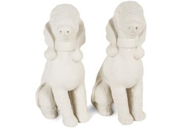 Picture of Bedlington Terrier Handmade Unpainted Ceramics Mini Unpainted Cruet Set Unglazed
