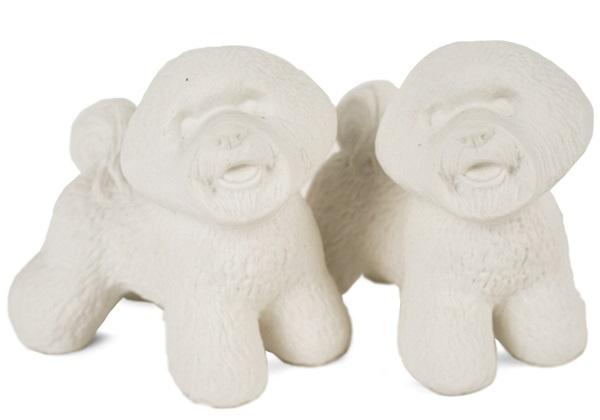 Picture of Bichon Frise Handmade Unpainted Ceramics Mini Unpainted Cruet Set Unglazed