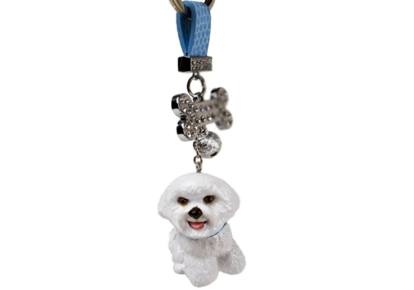 Picture of Bichon Frise Handmade Mini Key Ring White