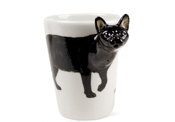 Picture of Black Cat 8oz Black Handmade Coffee Mug