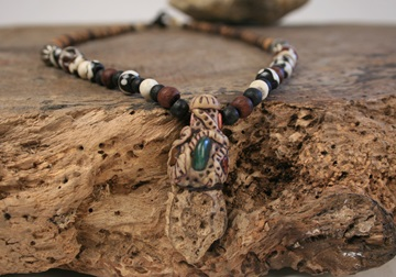 Picture of Bohemian Inca Wood Beaded Necklace Antique