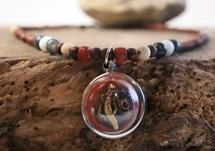 Picture of Bohemian Inca Glass Ganesh Beaded Necklace Brown