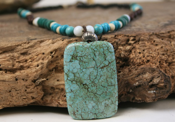 Picture of Bohemian Inca Turquoise Beaded Necklace Green