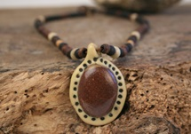 Picture of Bohemian Inca Stone Beaded Necklace Rustic Brown