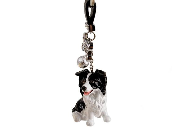 Picture of Border Collie Handmade Mini Key Ring Black