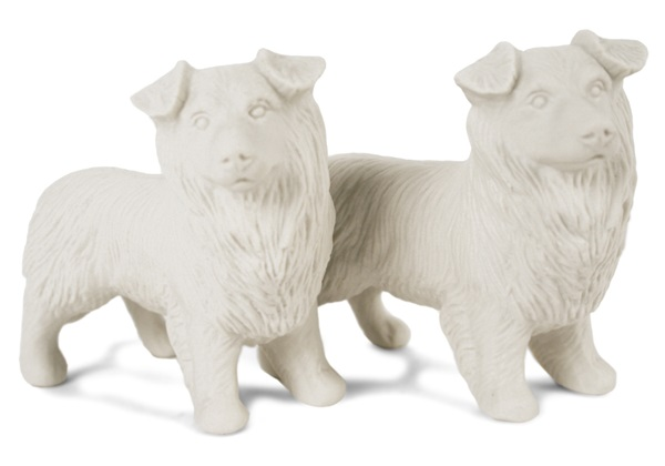 Picture of Border Collie Handmade Unpainted Ceramics Mini Unpainted Cruet Set Unglazed