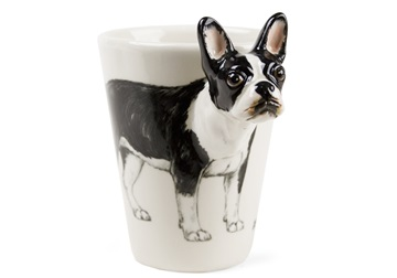 Picture of Boston Terrier Handmade 8oz Coffee Mug Black and White