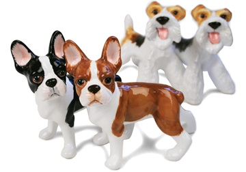 Picture of Boston Terrier Handmade Mini Cruet Set Black and Brown