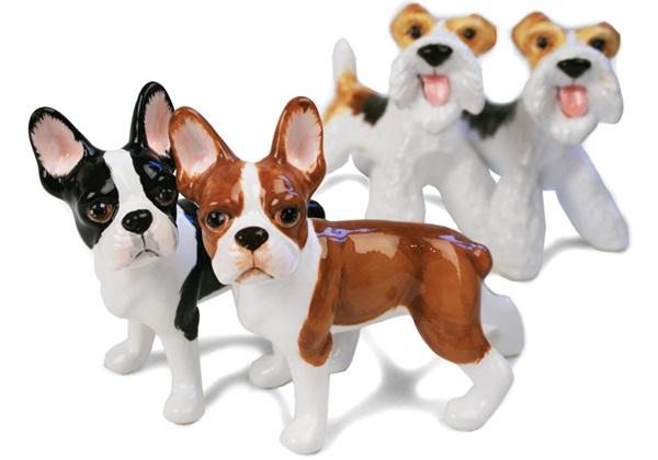 Picture of Boston Terrier Handmade Mini Cruet Set Black and Brown