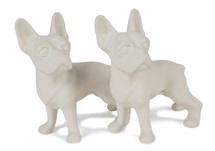 Picture of Boston Terrier Handmade Unpainted Ceramics Mini Unpainted Cruet Set Unglazed